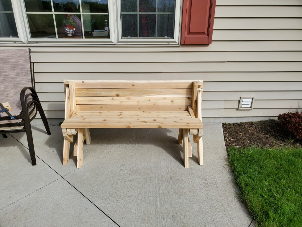 Cedar convertible table/bench