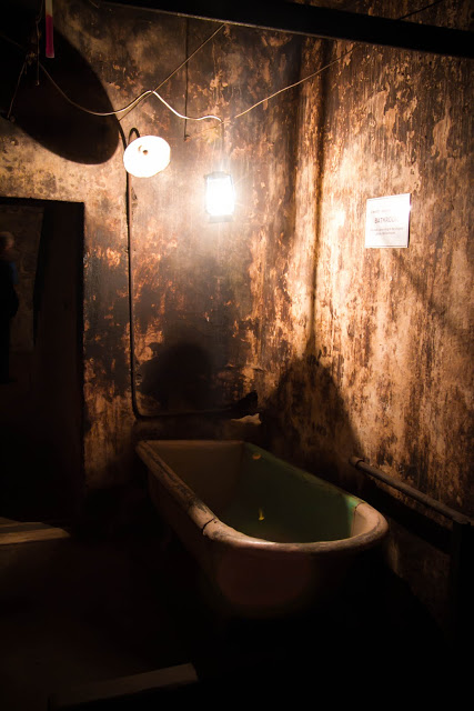 J Ward, original bathhouse -  windowless dungeon like room under the complex.. and ONE bath used by all inmates
