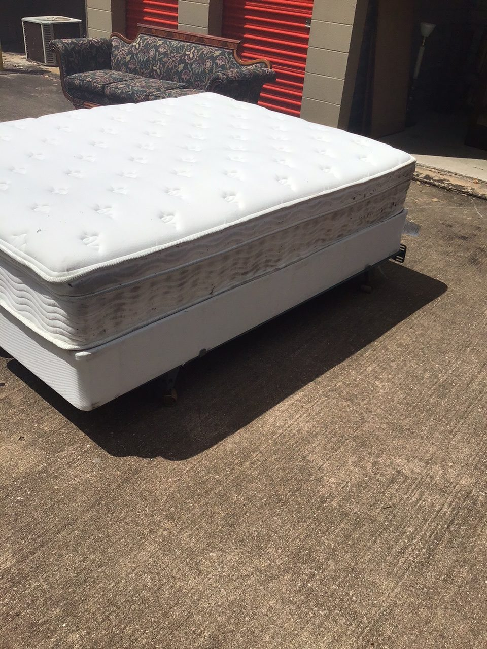 queen size pillow top mattress with box springs and a metal frame rusty s resale
