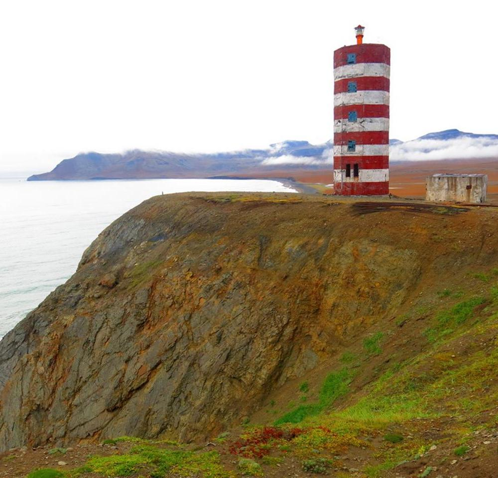 A derelict lighthouse with a nuclear power battery