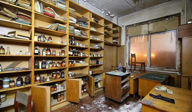 An abandoned chemistry lab