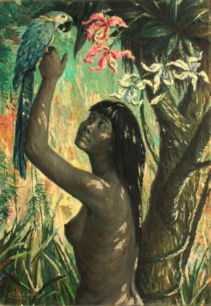 César Calvo de Araujo Mujer con guacamayo y orquídea 1960
