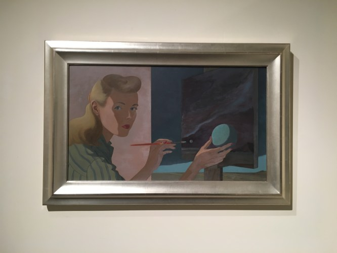 "This piece of work was interesting due to its (also) illusory content. This woman is seen painting a picture while holding a sphere, which was described as a ""portal"" between the woman and her painting. Such an idea is comparable to selfies taken in front of the Leaning Tower of Pisa where people are shown leaning or pushing against it, which also serves as an illusion between the person and their background. This portrait shows where this idea of a 2D illusion in selfies may have originated from."