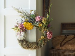 Moss and dried flower wreath