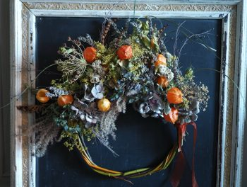 Willow wreath with Chinese lanterns