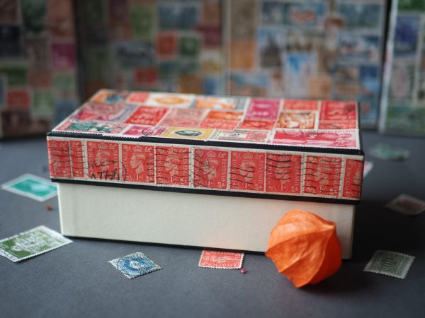 Decorative vintage stamp box