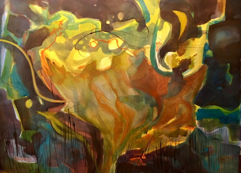 "Abstracted Floral ""Wild Daffodil"" Watercolor on Paper ©Ruth Armitage 22""x30"" $1950"