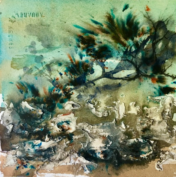 """Rocky Shore"" Mixed Media on Paper ©Ruth Armitage 6""x6"" SOLD"