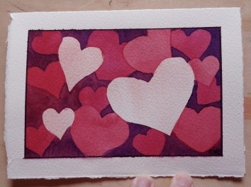 "Shades of Red, watercolor, 3.5"" x 5.25"" Valentine Cards were an exercise in negative painting."