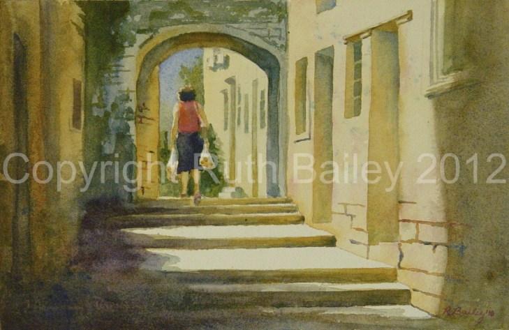 """Homeward from Market, Watercolor, 7.5"""" x 11"""""""