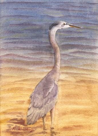 """Standing Heron, watercolor, 7"""" x 5"""""""