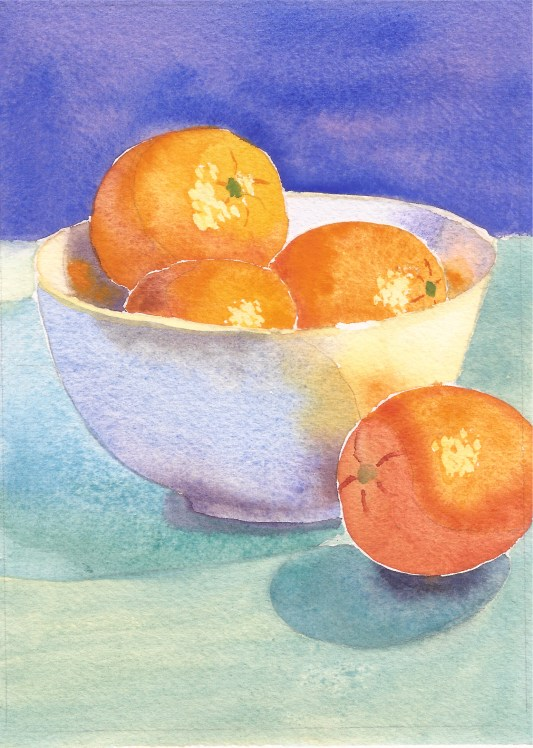 """Oranges in a Bowl #2, watercolor, 7"""" x 5"""""""