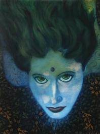 Shanti Nilaya Painting, portrait of Shanti Nilaya, portrait about death and dying, art about spirit, art about transition, oil on canvas portrait
