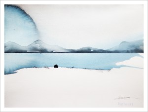 Vinterstillhet – Watercolour giclee print by R.T.Brokstad