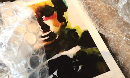 Unpacking prints for the exhibition in Trondheim