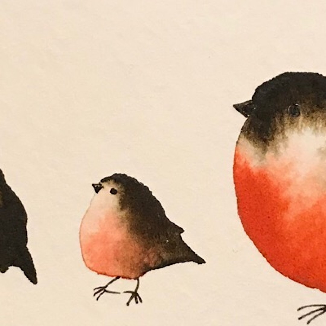 Watercolour paintng: five red birds (two big, three small)