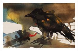 FRAMED Original: Crow Habit-Styles > Birds, Framed, Size > Medium (21-50 cm, eg. A4 and A3), Techniques > Original Watercolours-Rutheart