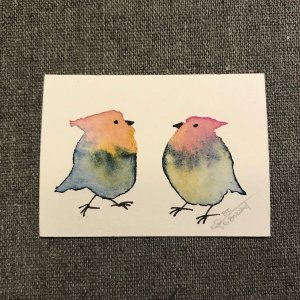 Sidensvans-duo-Styles > Birds, Techniques > Original Watercolours, Size > Small (up to 21 cm, eg. A5), Techniques > Cards > Tiny Bird Paintings-Rutheart