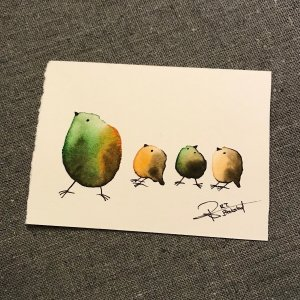 Thursday Trio Treasure-Styles > Birds, Techniques > Original Watercolours, Size > Small (up to 21 cm, eg. A5), Techniques > Cards > Tiny Bird Paintings-Rutheart