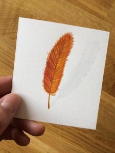 Feather Card #3-Techniques > Cards, Techniques > Cards > Feathers, Size > Small (up to 21 cm, eg. A5)-Rutheart