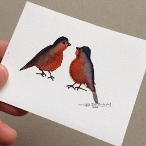 Tiny Bird Painting #4-Styles > Birds, Techniques > Original Watercolours, Size > Small (up to 21 cm, eg. A5), Techniques > Cards > Tiny Bird Paintings-Rutheart