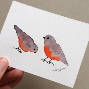 Tiny Bird Painting #8-Styles > Birds, Techniques > Original Watercolours, Size > Small (up to 21 cm, eg. A5), Techniques > Cards > Tiny Bird Paintings-Rutheart