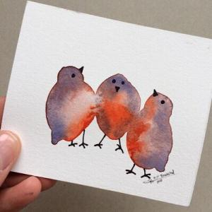 Tiny Bird Painting #9-Styles > Birds, Techniques > Original Watercolours, Size > Small (up to 21 cm, eg. A5), Techniques > Cards > Tiny Bird Paintings-Rutheart