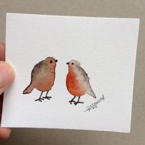 Tiny Bird Painting #15-Styles > Birds, Techniques > Original Watercolours, Size > Small (up to 21 cm, eg. A5), Techniques > Cards > Tiny Bird Paintings-Rutheart