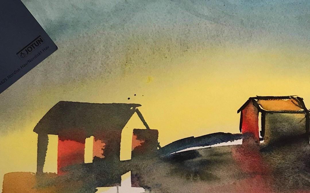 """Northern Joy"" med veggfargen ""Nordisk Hav"" fra Jotun"