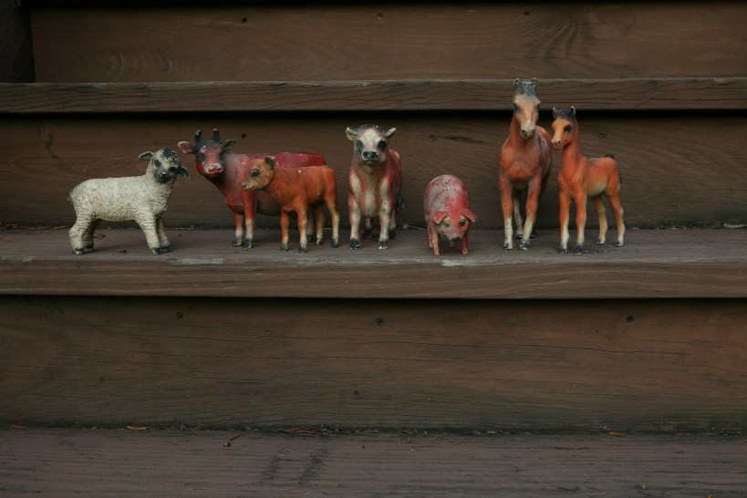 Toy farm animals from my children's youth