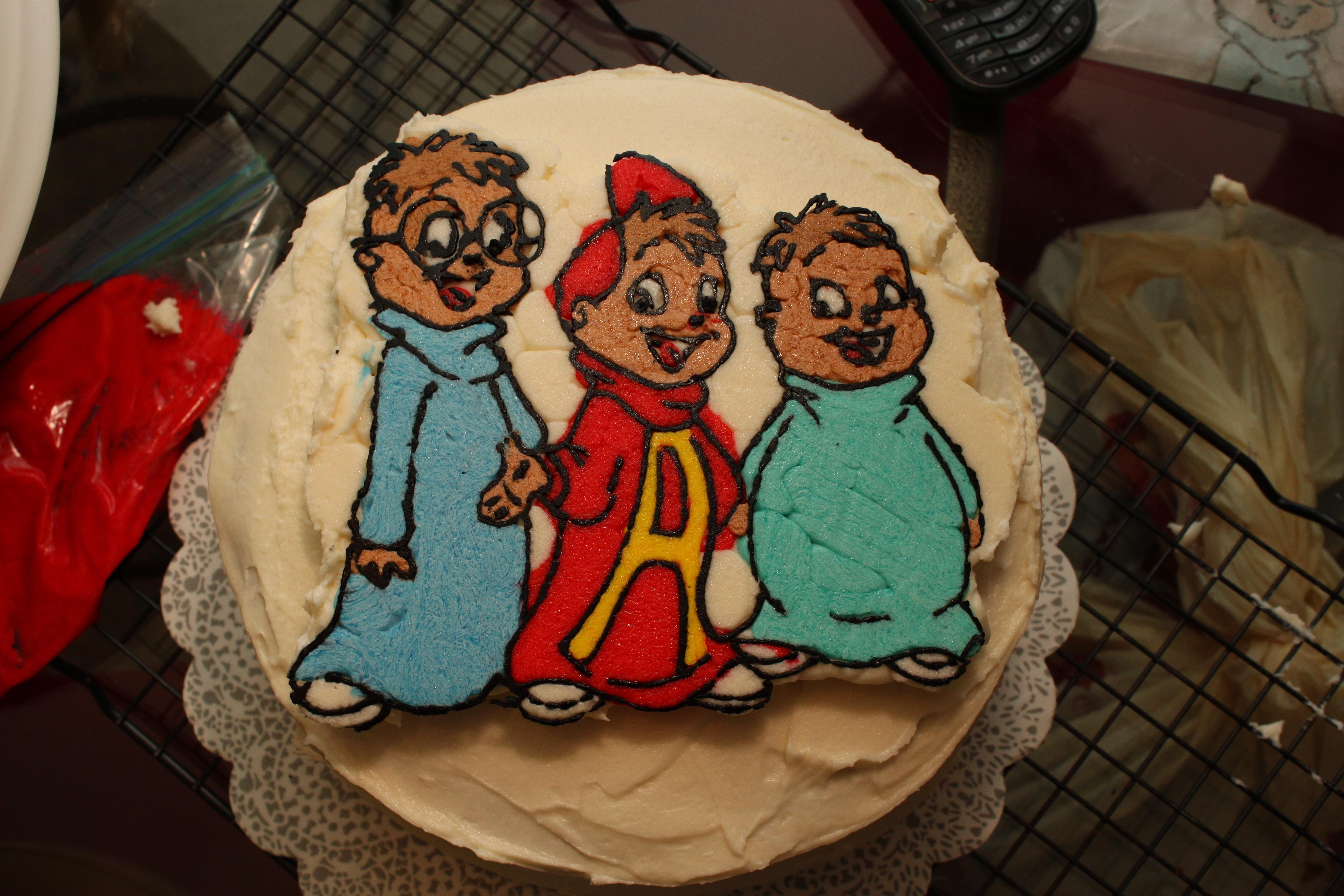 Super Alvin And The Chipmunks Cake Michael Is Five Ruth E Hendricks Funny Birthday Cards Online Alyptdamsfinfo