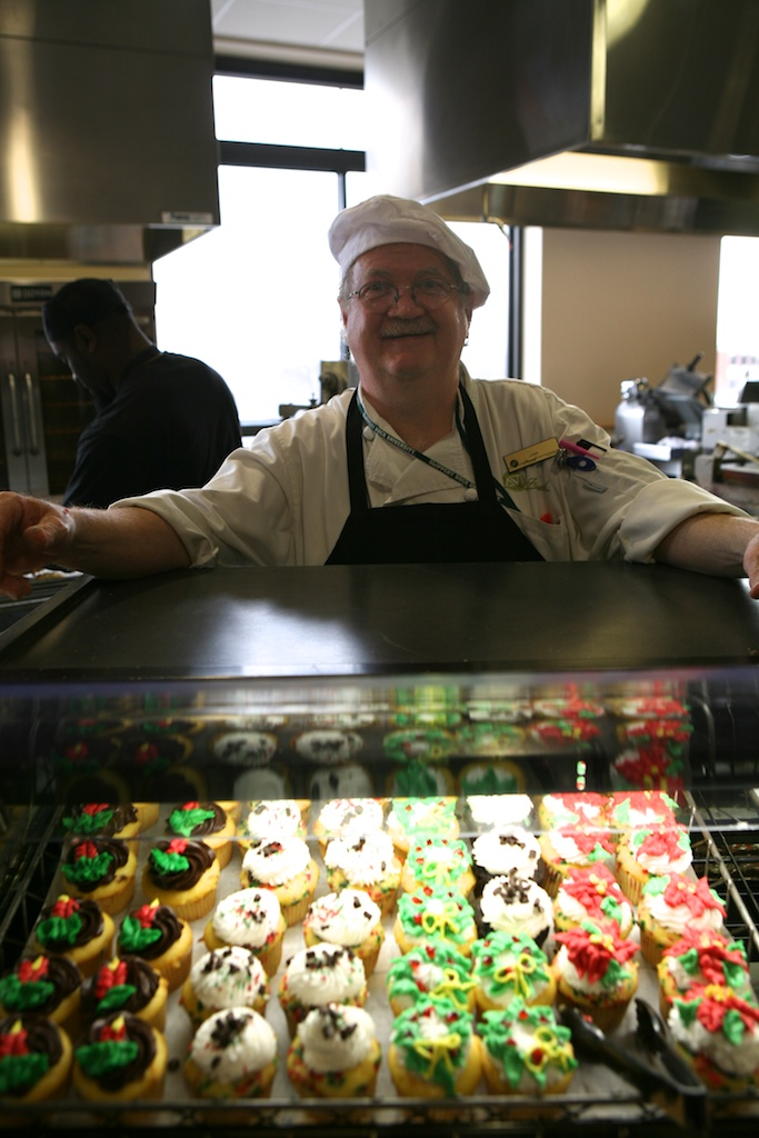 Jim the baker with cupcakes