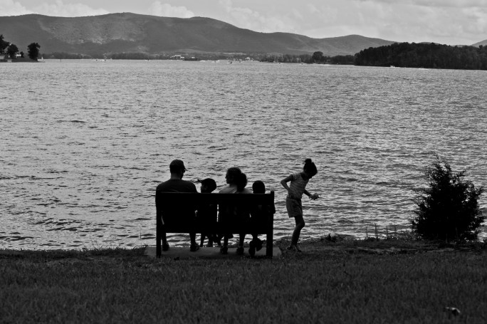Family at lake