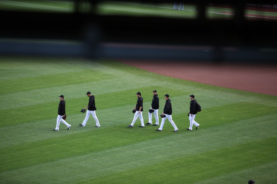 The Bucs head for the dugout