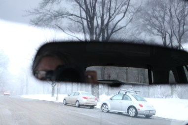 Rear View Mirror view in the park