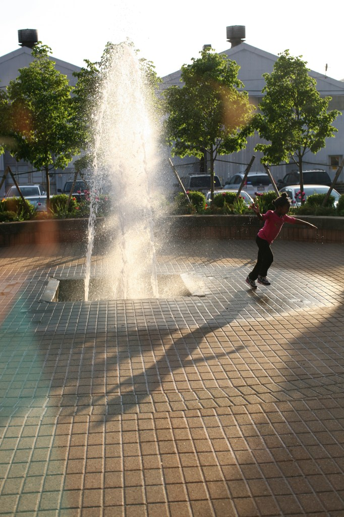 girl in fountain