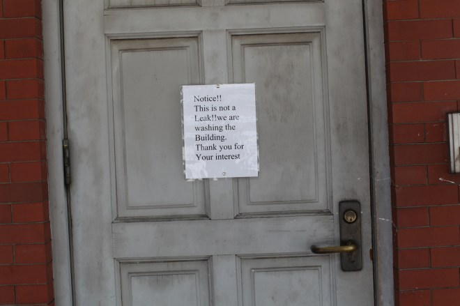 washing building sign