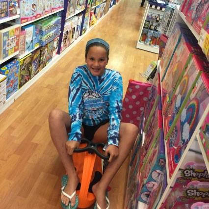 Anna at the toy store in the Worthington Mall