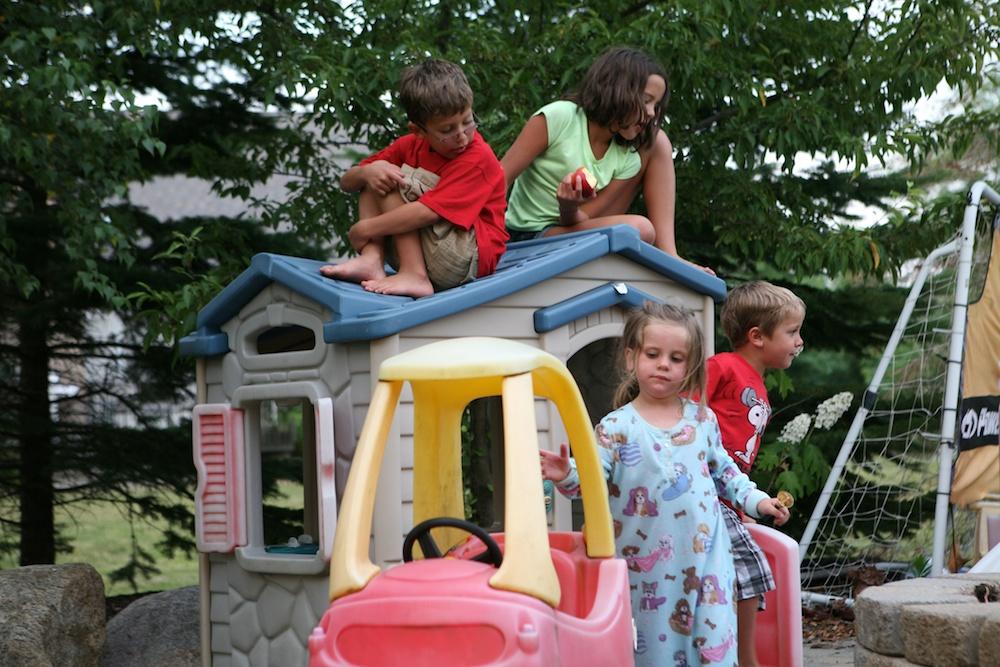 grandkids atop roof