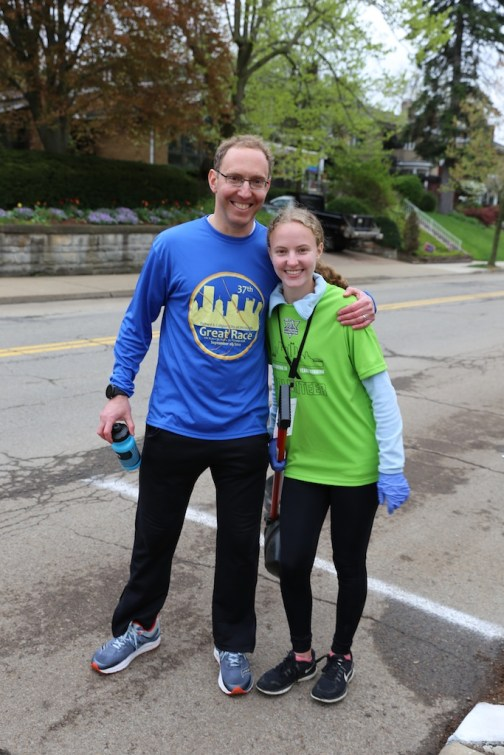 He ran the 1/2 marathon, then helped clean up with his family