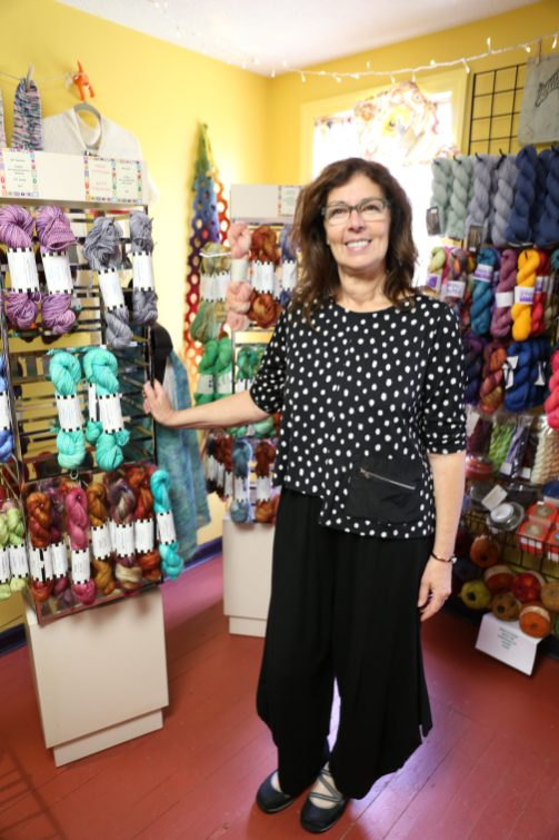 Owner Toni Ritchey with her own RaggZ Yarn