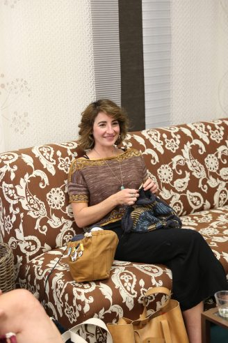 Trunk Show Guest Christina Danaee knitting