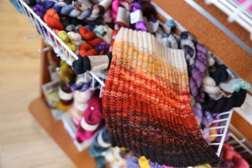 Joanna knit this cowl using 4 mini-skeins and has enough leftover for a hat
