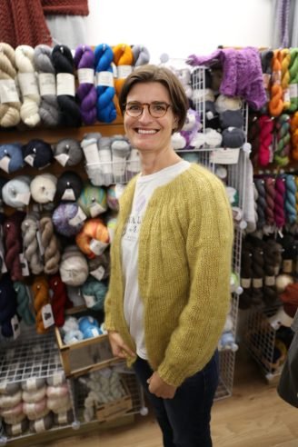 Joanna in her Primrose Mohair Yarn Sunday Cardigan