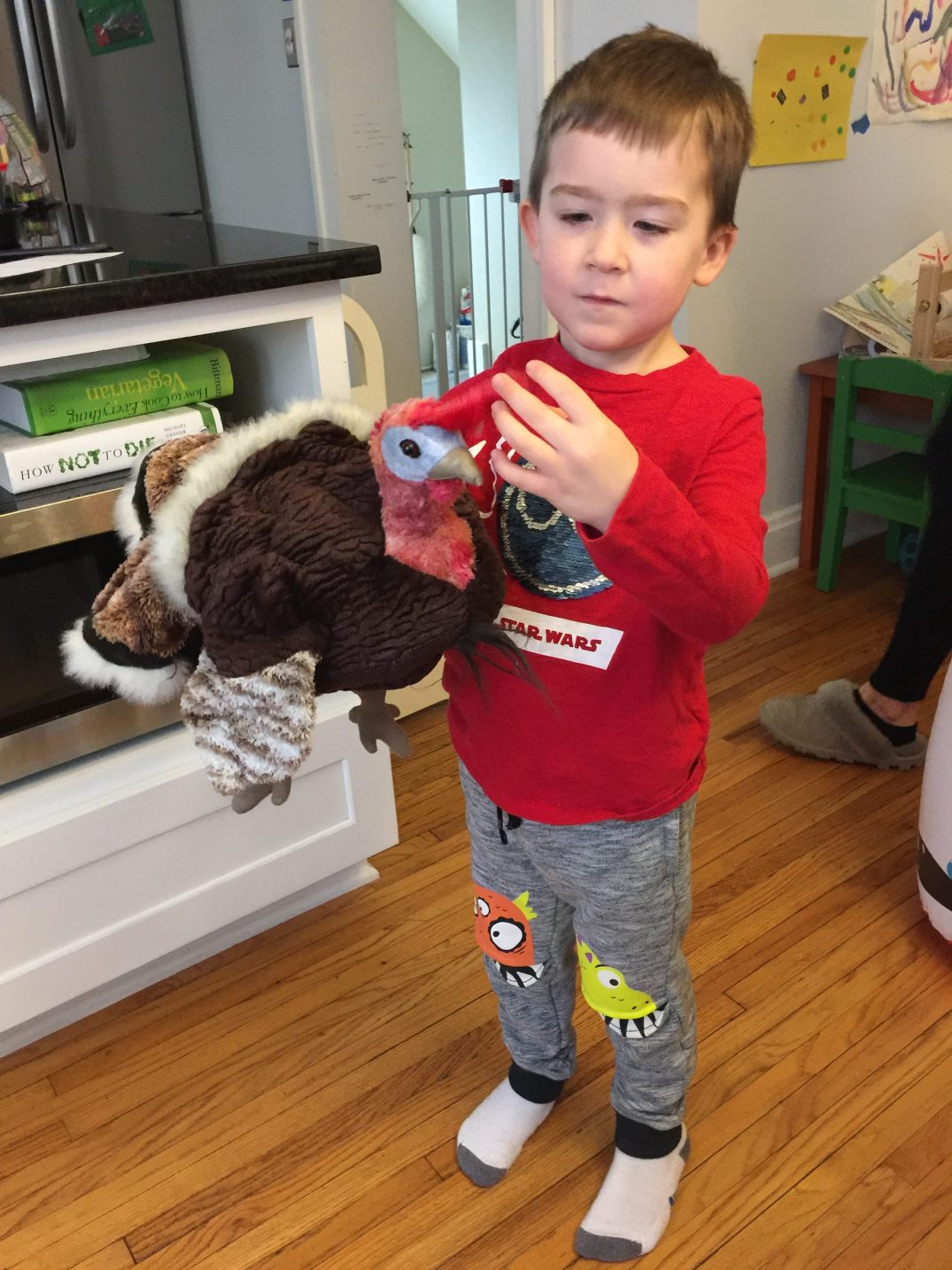 Charlie and the turkey puppet