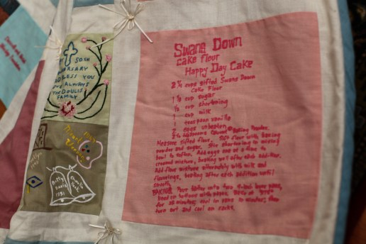 The cake recipe on the quilt I made for our parents 50th