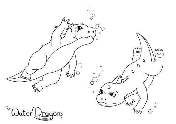 Water dragons colour in page