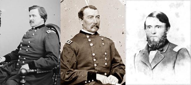 Generals Alexander McDowell McCook,  Philip Henry Sheridan, and Joshua Woodrow Sill