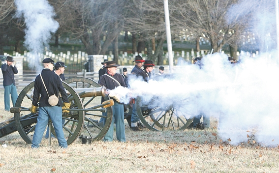 TMP photo by Kelly Hite. Concentrated Union artillery fire ended the second day of Stones River as a Union victory.