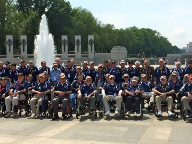 A small section of the 105 Veterans on this particular Honor Flight.